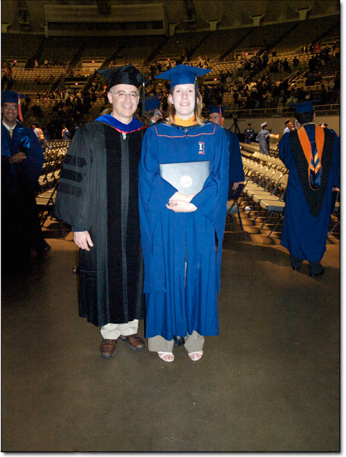 Michael Insana pictured with graduating student, Cecile Coussot